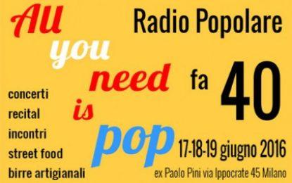 40 anni e la cultura è sempre più Radio Pop!